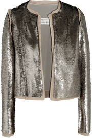 Sequined stretch-crepe jacket