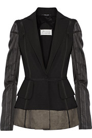 Silk chiffon-paneled wool and mohair-blend blazer