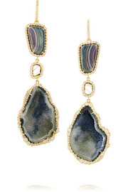 18-karat gold, boulder opal, geode and diamond drop earrings