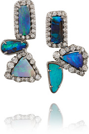 18-karat blackened white gold, opal and diamond earrings