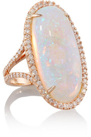 18-karat rose gold, crystal opal and diamond ring