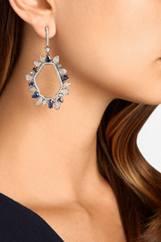 18-karat blackened white gold, sapphire and diamond earrings