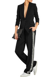 Sequin-trimmed satin straight-leg pants
