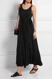 Pleated stretch-jersey maxi dress