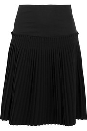 Pleated cotton and crepe skirt