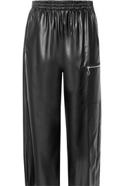 Cropped faux leather wide-leg pants