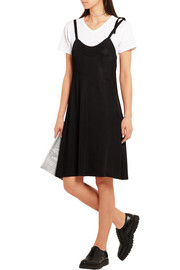 Cotton-jersey and satin-jersey dress