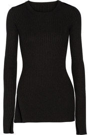 Cutout rbbed-knit sweater