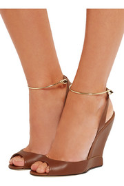 Delphi metal-trimmed leather wedge sandals