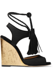 Tianjin tasseled suede-trimmed canvas wedge sandals