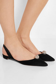 Jewel embellished suede point-toe flats