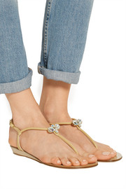 Crystal-embellished leather wedge sandals