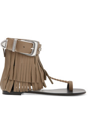 Fringed textured-leather sandals
