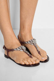 Crystal-embellished leather sandals