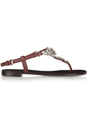 Giuseppe Zanotti Crystal-embellished leather sandals
