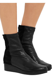 Noa leather and stretch-suede wedge ankle boots