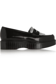 Pastek metallic glossed-leather platform loafers