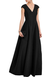 Paneled cotton and silk-blend faille gown