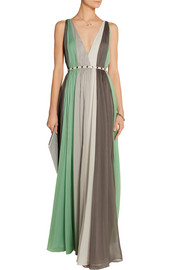Striped crinkled-chiffon gown