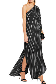 One-shoulder printed voile gown