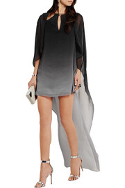 Halston Heritage Ombré crinkled-chiffon mini dress