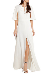 Cape-back stretch-crepe gown