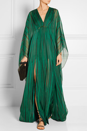 Halston Heritage Striped chiffon gown