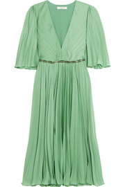 Cape-back pleated crepe de chine dress