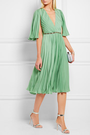 Halston Heritage Cape-back pleated crepe de chine dress