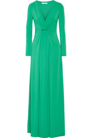 Draped stretch-jersey gown