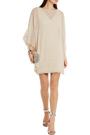 Halston Heritage Georgette and stretch-ponte mini dress