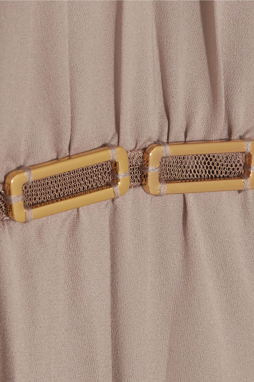 Halston Embellished pleated georgette jumpsuit