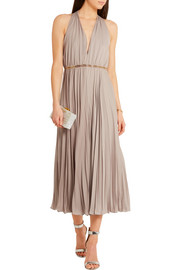 Halston Heritage Embellished pleated georgette jumpsuit