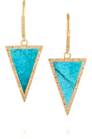 Jennifer Meyer 18-karat gold, turquoise and diamond triangle earrings