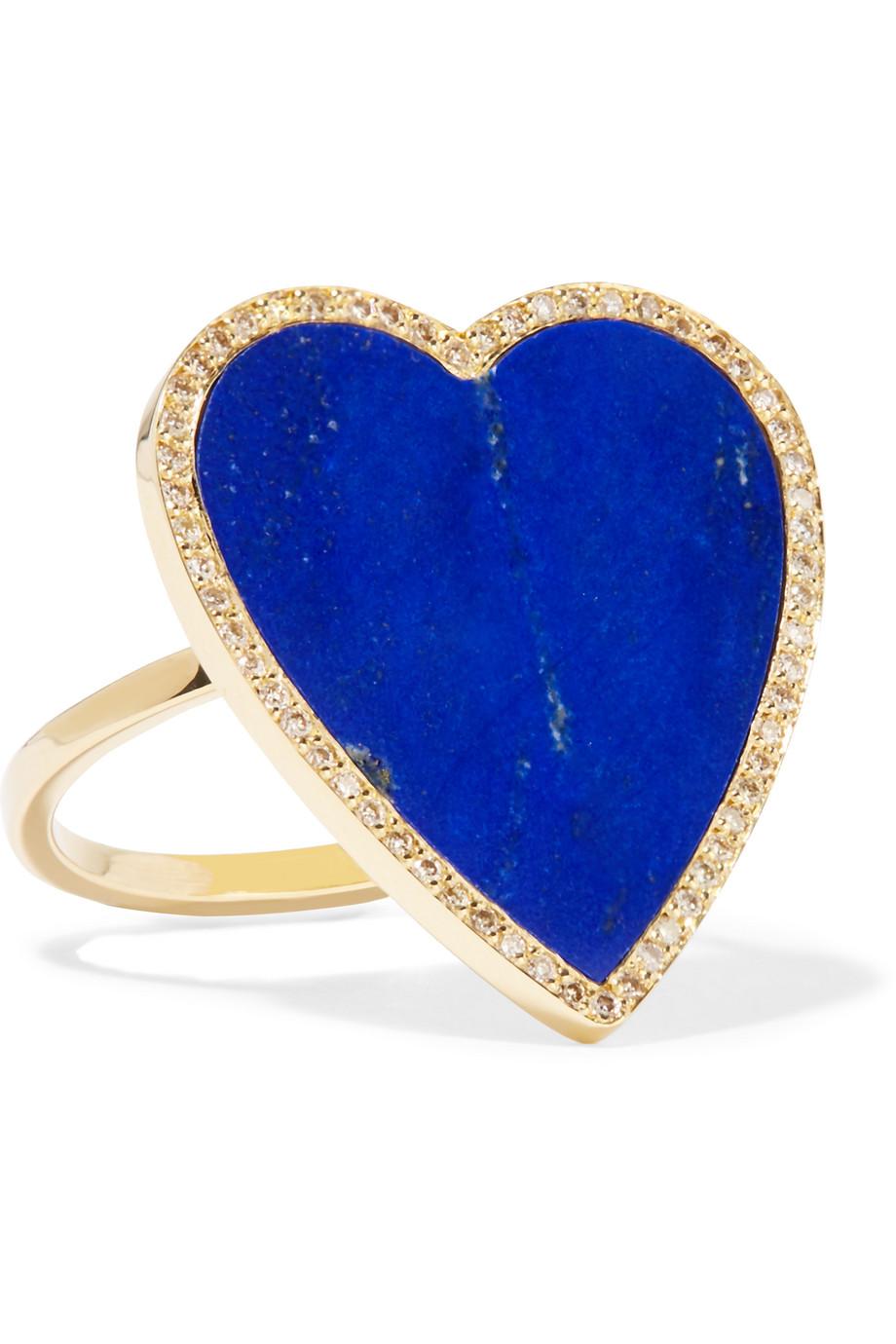 Jennifer Meyer 18-Karat Gold, Lapis Lazuli and Diamond Heart Ring, Gold/Blue, Women's, Size: 6 3/4