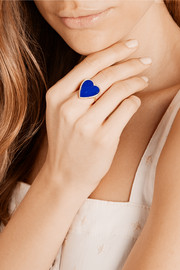 Jennifer Meyer Heart 18-karat gold, lapis lazuli and diamond ring