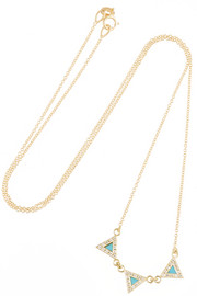 18-karat gold, diamond and turquoise triangle necklace