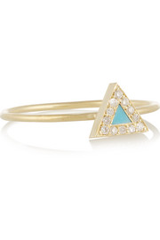 18-karat gold, diamond and turquoise triangle ring