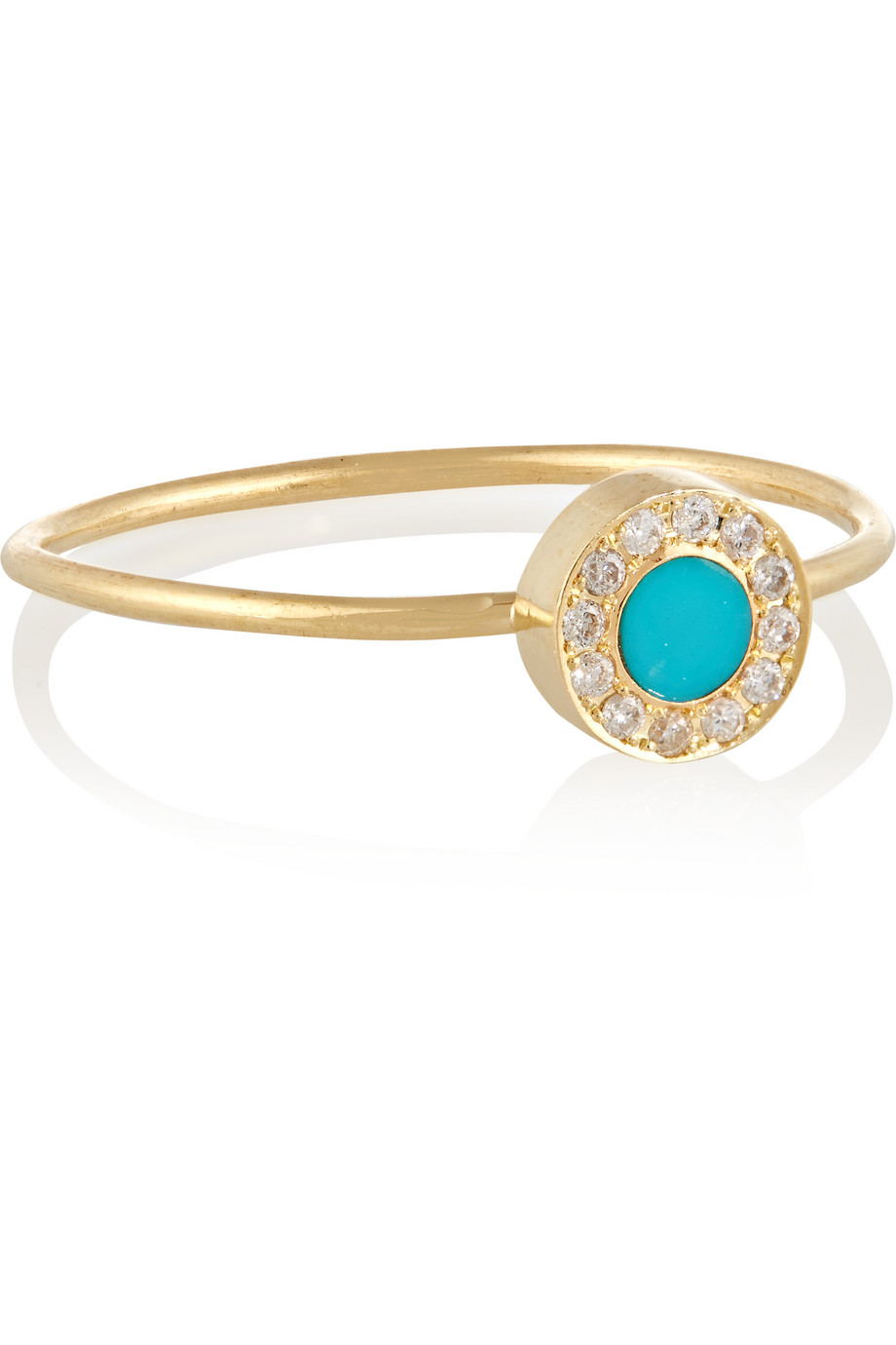 Jennifer Meyer 18-Karat Gold, Diamond and Turquoise Circle Ring, Turquoise/Gold, Women's, Size: 5