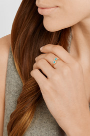 Jennifer Meyer 18-karat gold, diamond and turquoise circle ring