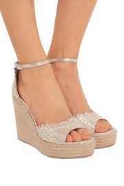 Harp metallic perforated leather espadrille wedge sandals