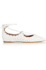 Willa perforated leather point-toe flats