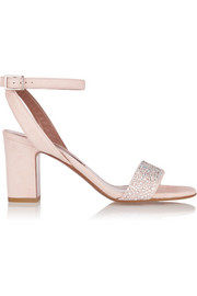 Leticia crystal-embellished suede sandals