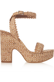 Harlow perforated cork and leather sandals