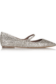 Hermione glittered leather point-toe flats