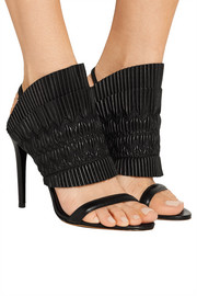 Flouncy ruched leather sandals