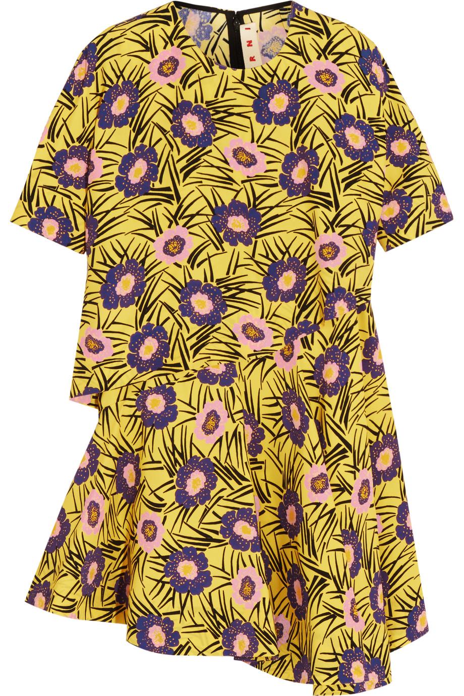 Marni Layered Floral-Print Poplin Top, Yellow, Women's, Size: 42