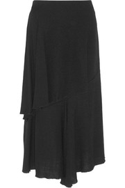 Asymmetric basketweave canvas midi skirt