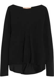 Marni Draped stretch-crepe top