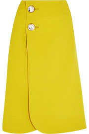Marni Crystal-embellished wool-crepe wrap skirt